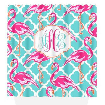 Flamingo SHOWER CURTAIN, Lilly Flower, Hot Pink Turquoise, Dorm Custom MONOGRAM Personalized, Girl Sister Decor, Bath Towel, Plush Bath Mat