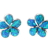 INLAY OPAL HAWAIIAN PLUMERIA FLOWER STUD EARRINGS 15MM
