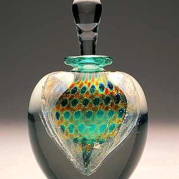 Peacock Perfume Jade Green by David New Small: Art Glass Perfume Bottle | Artful Home