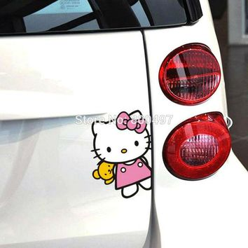 Newest Creative Car Styling Lovely Hello Kitty Peeking Waving Hand Car Sticker Car Whole Body Vinyl Decal
