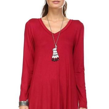 Women's Long Sleeve V-Neck Swing Tunic