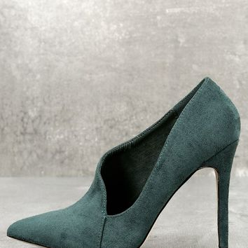 Ellison Green Suede D'Orsay Pumps