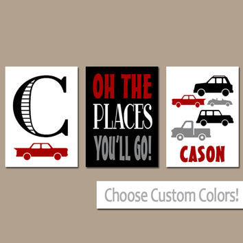CARS Wall Art, CANVAS or Prints, Baby Boy Nursery Artwork, Cars Trucks Transportation Theme, Oh The Places, Personalized Boy Name Set of 3