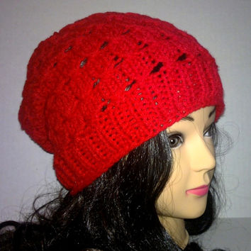 Knit Red Slouchy Beanie, Womans Accessories Knit Hat
