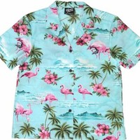 Pink Flamingo - Ladies Aloha Camp Shirt - Blue, Robert J. Clancey - Ladies Hawaiian Clothing, W415S-275-Blue - Paradise Clothing Company