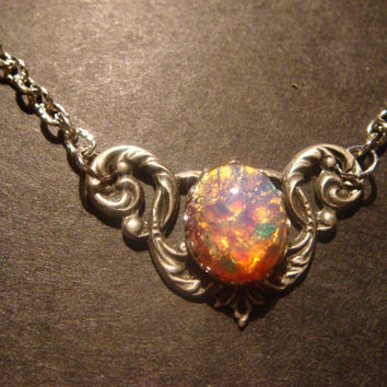 Victorian Style Fire Opal Necklace in Antique Silver (533)