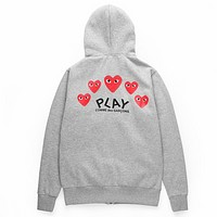 PLAY tide brand men and women behind the red heart print zipper hooded jacket grey