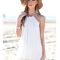 'The Sara' White Halterneck Chiffon Mini Dress