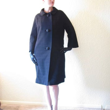 Mid Century Dress Coat. Black Wool Stripes. Big Jeweled Buttons. Size M.