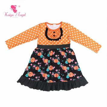 Kaiya Angel Halloween Toddler Girl Ruffles Long-sleeved Kids Princess Dresses Flower Pumpkin Orange Bottom White Dot Clothes