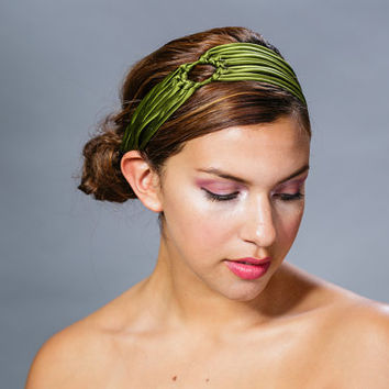 Green headband, satin headband,  turban head wrap, womens headband