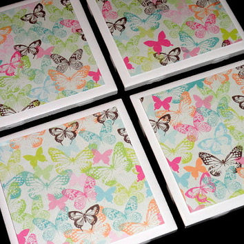 Tile Coasters- Coasters- Spring Coaster- Butterflies Coaster- Home Decor- Bright Colored Butterfly Printed Tile Coasters- Set of 4