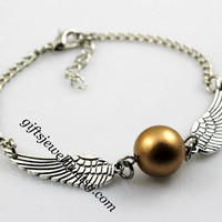 Harry potter Golden Snitch Bracelet, Silver Double sided wings Bracelet