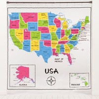 USA Map PEVA Shower Curtain
