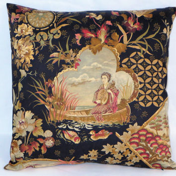 "Japanese Pictorial Pillow, Scenic Oriental Print, Black Gold Rust Pink, Geisha Lady in Boat, Flowers Ducks, 18"",  Zipper Cover, Ready Ship"
