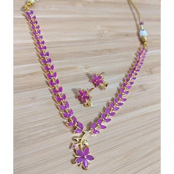 Ruby flower design one gram gold polished CZ stone choker necklace and stud earring set
