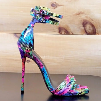 "Brooke 2 Strap Single Sole Shoe Bright Rainbow Snake - 5"" High Heels"