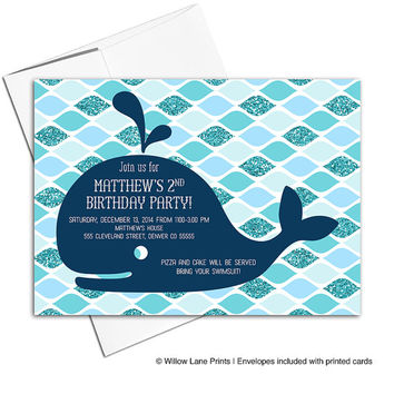 Pool party birthday invitation | Boys 2nd birthday party navy and teal | kids birthday invites | printable or printed - WLP00313