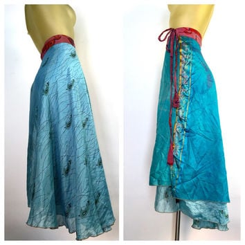 Boho Silk Skirt, Reversible Layered Wrap Skirt, Blue Paisley Indian Skirt, Side Tie Skirt, High Low Hem Festival Skirt, India Hippie Skirt M