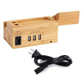 ICIK4S2 AMIR Bamboo Charging Station, Multi Device Charging Station with Three USB Port, Wood Organizer Dock for iPhone X / 8 / 7 / 6 / 5s & 38mm / 42mm Apple Watch Charger, Cradle for Most Smartphones