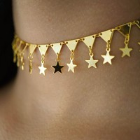 Fashion simple five-pointed star short necklace jewelry simple wild necklace F0314-1