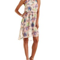 Ivory Combo Tropical Print High-Low Halter Dress by Charlotte Russe