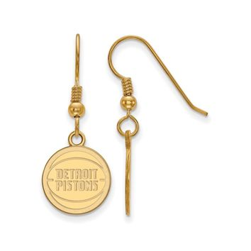 NBA Detroit Pistons 14k Gold Plated Silver SM Disc Dangle Earrings