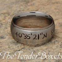 Free Shipping latitude longitude ring personalized ring sweet heart ring hand stamped high grade 316 stainless steel TB4