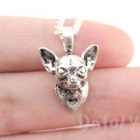 3D Lifelike Chihuahua Face Shaped Charm Necklace | Jewelry for Dog Lovers