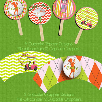 Cupcake Toppers & Wrappers-DIY-Custom-Personalized-Golf Girl