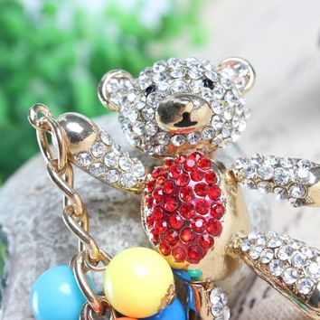 Bear Red Bell Arm Move Panda Charm Pendant Crystal Purse Bag Key Ring Chain Women Girl Gift Our Happy Time