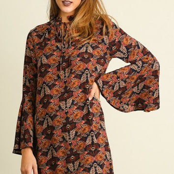 UMGEE floral print dress with bell sleeves and mock neckline brown mix