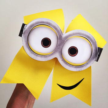Deluxe Minion face cheer bow hair cheerbow yellow