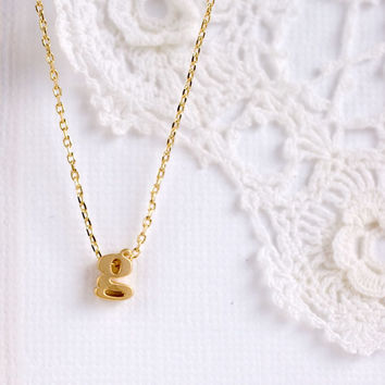 Personalized Tiny gold initial monogram Lowercase Letter Necklace bridesmaid gifts birthday bridal gift