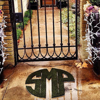 Monogram Synthetic Grass Doormat | Rug | Wall Art Decor