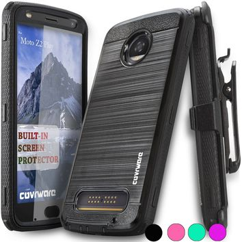 Moto Z2 PLAY / Z2 FORCE Case, COVRWARE [IRON TANK] Built-in [Screen Protector] Rugged Holster [Brushed Metal Texture] Case [Belt