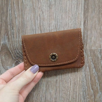 Fine leather business card and credit card holder for men and women Vintage style hand stitched