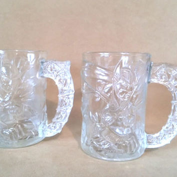 Vintage Batman Forever Collector's Mugs, 1995 McDonalds Batman Forever Batman Glass Mugs Raised 3D Image Super Hero DC Comics Made in France
