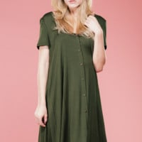 Olive Button Up Swing Dress