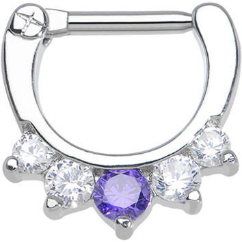 "14 Gauge 5/16"" Five Clear and Tanzanite Cubic Zirconia Septum Clicker 