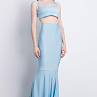 Light Blue Halter Cropped Top with Fishtail Maxi Skirt