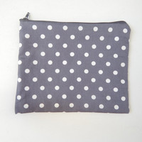 Large Pouch in Grey Polka Dot - Makeup Bag - Cosmetics Purse - Pencil Case - Travel Pouch - Bag Organiser - Clutch