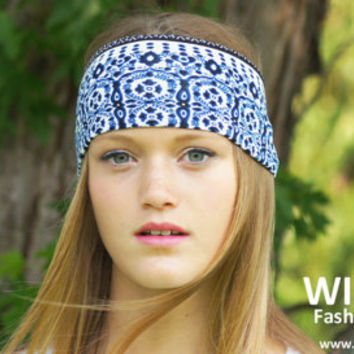 Wide Boho Headband, Ladies Fashion Headband, Boho Headwrap, Yoga Headband, Bohemian Fashion,Fabric headband, Womens stretch headband