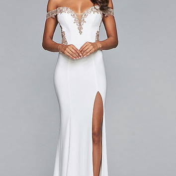 Long Jersey Off-Shoulder Prom Dress with Embroidery