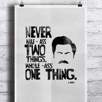"Parks and Recreation inspired Ron Swanson Poster - A3 (11x17"") Typographic Ron Swanson Print"