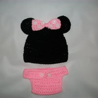 Minnie Mouse Hat - Minnie Mouse Crochet Hat - Baby Crochet Hat - Newborn Photo Prop - Newborn to Men - Mickey Mouse Hat - Toddler