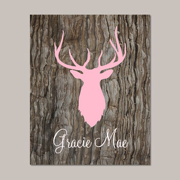 Baby Girl Nursery Decor Deer Antler Rustic Nursery Country Nursery Girl Playroom Girl Bathroom Camo Camouflage Bedroom Hunting