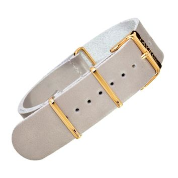 22mm Grey Leather NATO - Gold Buckle