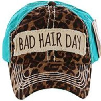 stylish BAD HAIR DAY LEOPARD & Turquoise PRINT HAT Baseball CAP