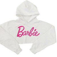 2016 Young Girls Sweatshirt Harajuku Barbie Pink Letters Sexy Crop Top Hoodies Women Punk Hip-hop Sweatshirt Short Style